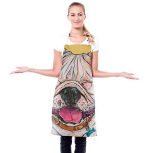 Artistic Bakers Aprons   Patti Schermerhorn - Laughing Bulldog   Animals Dogs
