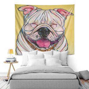 Artistic Wall Tapestry   Patti Schermerhorn - Laughing Bulldog   Animals Dogs