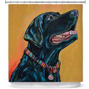 Premium Shower Curtains | Patti Schermerhorn - Loving Labrador | dog portrait