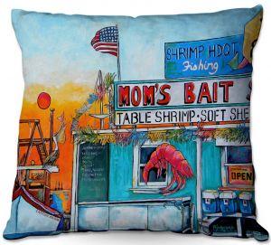 Throw Pillows Decorative Artistic   Patti Schermerhorn - Moms Bait Shop   storefront coast beach summer