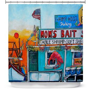 Premium Shower Curtains | Patti Schermerhorn - Moms Bait Shop | storefront coast beach summer
