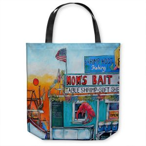 Unique Shoulder Bag Tote Bags | Patti Schermerhorn - Moms Bait Shop | storefront coast beach summer
