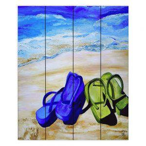 Decorative Wood Plank Wall Art | Patti Schermerhorn Naked Feet on the Beach