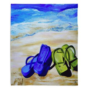 Decorative Fleece Throw Blankets | Patti Schermerhorn - Naked Feet on the Beach