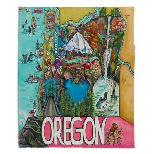 Artistic Sherpa Pile Blankets | Patti Schermerhorn - Oregon Fun | city map town state tourist