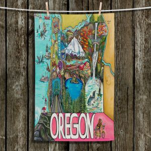 Unique Hanging Tea Towels | Patti Schermerhorn - Oregon Fun | city map town state tourist