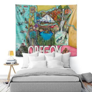 Artistic Wall Tapestry   Patti Schermerhorn - Oregon Fun   city map town state tourist