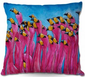 Decorative Outdoor Patio Pillow Cushion | Patti Schermerhorn - Peace Love and Flamingos