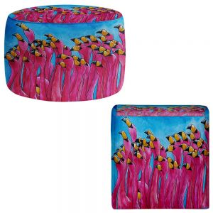 Round and Square Ottoman Foot Stools | Patti Schermerhorn - Peace Love and Flamingos