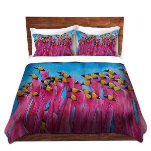 Artistic Duvet Covers and Shams Bedding | Patti Schermerhorn - Peace Love and Flamingos