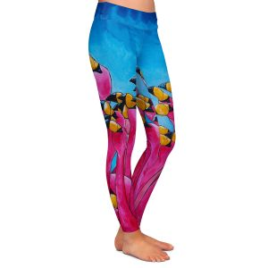 Casual Comfortable Leggings | Patti Schermerhorn Peace Love and Flamingos