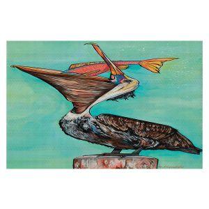 Decorative Floor Covering Mats | Patti Schermerhorn - Pelican On Edge | Sea Bird Fish