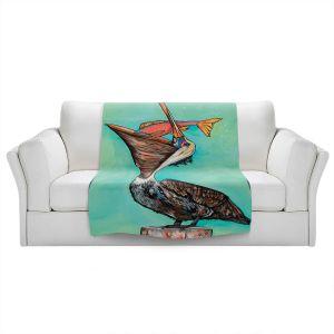 Artistic Sherpa Pile Blankets | Patti Schermerhorn - Pelican On Edge | Sea Bird Fish