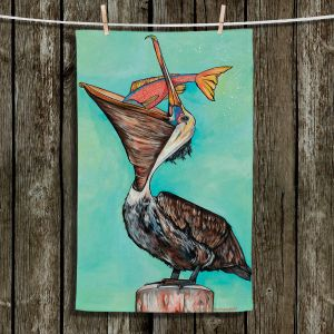 Unique Hanging Tea Towels | Patti Schermerhorn - Pelican On Edge | Sea Bird Fish