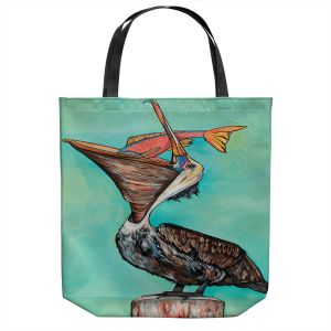 Unique Shoulder Bag Tote Bags | Patti Schermerhorn - Pelican On Edge | Sea Bird Fish