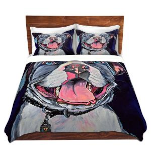 Artistic Duvet Covers and Shams Bedding | Patti Schermerhorn - Pit Bull Love | Dog Animal