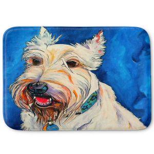 Decorative Bathroom Mats | Patti Schermerhorn - Quincy Scottish Dog | puppy terrier portrait