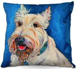 Decorative Outdoor Patio Pillow Cushion | Patti Schermerhorn - Quincy Scottish Dog | puppy terrier portrait