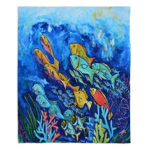 Artistic Sherpa Pile Blankets   Patti Schermerhorn - Reef Fish   sea ocean underwater nature