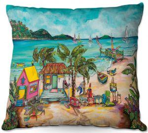 Decorative Outdoor Patio Pillow Cushion | Patti Schermerhorn - Salty Kisses Beach 1 | coast summer ocean