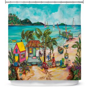 Premium Shower Curtains | Patti Schermerhorn - Salty Kisses Beach 1 | coast summer ocean