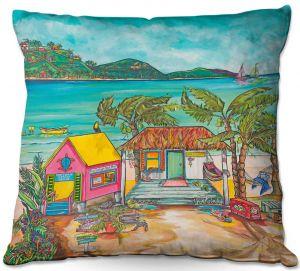 Decorative Outdoor Patio Pillow Cushion | Patti Schermerhorn - Salty Kisses Beach 2 | coast summer ocean