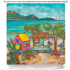 Premium Shower Curtains   Patti Schermerhorn - Salty Kisses Beach 2   coast summer ocean