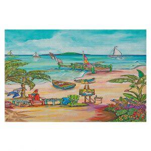 Decorative Floor Covering Mats | Patti Schermerhorn - Salty Kisses Beach 3 | coast summer ocean