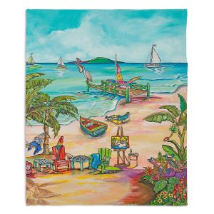 Decorative Fleece Throw Blankets | Patti Schermerhorn - Salty Kisses Beach 3 | coast summer ocean
