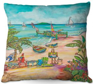 Decorative Outdoor Patio Pillow Cushion | Patti Schermerhorn - Salty Kisses Beach 3 | coast summer ocean