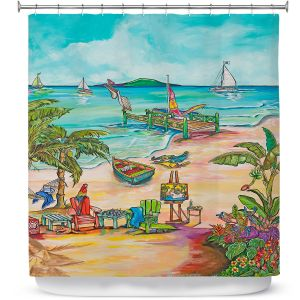 Premium Shower Curtains | Patti Schermerhorn - Salty Kisses Beach 3 | coast summer ocean
