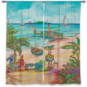 Decorative Window Treatments | Patti Schermerhorn - Salty Kisses Beach 3 | coast summer ocean