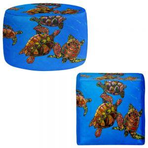Round and Square Ottoman Foot Stools   Patti Schermerhorn - Sarrahs Sea Turtles