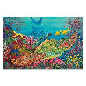 Decorative Floor Covering Mats | Patti Schermerhorn - Sea Turtle Coral | Animals Turtles Ocean
