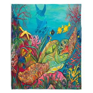 Decorative Fleece Throw Blankets | Patti Schermerhorn - Sea Turtle Coral | Animals Turtles Ocean