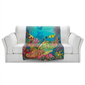 Artistic Sherpa Pile Blankets | Patti Schermerhorn - Sea Turtle Coral | Animals Turtles Ocean