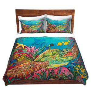 Artistic Duvet Covers and Shams Bedding | Patti Schermerhorn - Sea Turtle Coral | Animals Turtles Ocean