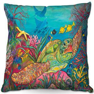 Throw Pillows Decorative Artistic   Patti Schermerhorn - Sea Turtle Coral   Animals Turtles Ocean
