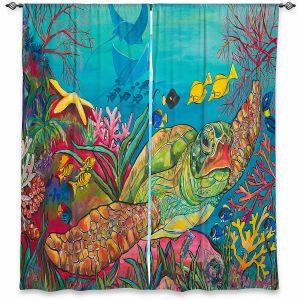 Decorative Window Treatments | Patti Schermerhorn - Sea Turtle Coral | Animals Turtles Ocean