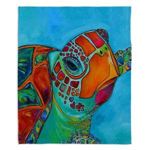 Artistic Sherpa Pile Blankets | Patti Schermerhorn Seaglass Sea Turtle