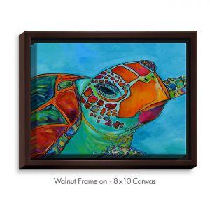 Decorative Canvas Walnut Frame 20x16 from DiaNoche Designs by Patti Schermerhorn - Seaglass Sea Turtle