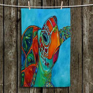 Unique Hanging Tea Towels | Patti Schermerhorn - Seaglass Sea Turtle | Turtle Ocean