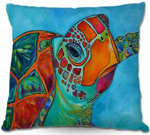 Unique Outdoor Pillow 18X18 from DiaNoche Designs by Patti Schermerhorn - Seaglass Sea Turtle