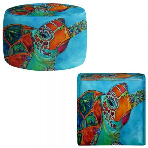 Round and Square Ottoman Foot Stools | Patti Schermerhorn - Seaglass Sea Turtle