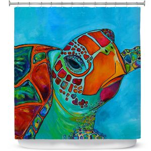 Premium Shower Curtains | Patti Schermerhorn Seaglass Sea Turtle