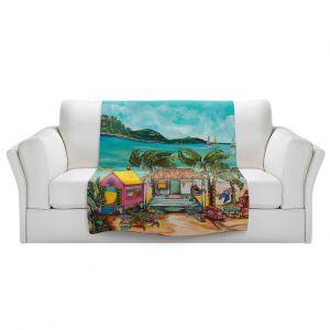 Artistic Sherpa Pile Blankets   Patti Schermerhorn - Star Fish Wishes   Beach House Ocean Boats Coast Mountains Beach Palm Trees