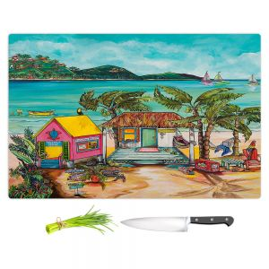 Artistic Kitchen Bar Cutting Boards | Patti Schermerhorn - Star Fish Wishes | Beach House Ocean Boats Coast Mountains Beach Palm Trees