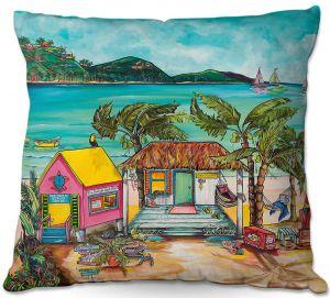 Decorative Outdoor Patio Pillow Cushion | Patti Schermerhorn - Star Fish Wishes | Beach House Ocean Boats Coast Mountains Beach Palm Trees
