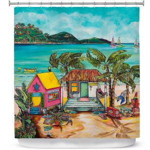 Premium Shower Curtains | Patti Schermerhorn - Star Fish Wishes | Beach House Ocean Boats Coast Mountains Beach Palm Trees