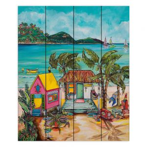 Decorative Wood Plank Wall Art | Patti Schermerhorn - Star Fish Wishes | Beach House Ocean Boats Coast Mountains Beach Palm Trees